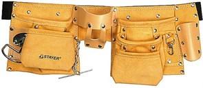Пояс STAYER 38510 MASTER для инструментов, кожаный, 10 карманов, 2 скобы