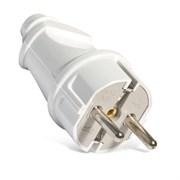 Вилка электрическая с заземлением прямая белая 16А,  UNIVersal А101