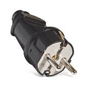 Вилка электрическая с заземлением прямая черная 16А,  UNIVersal А1010