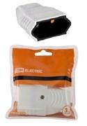 Штепсель ТДМ под евровилку Белый 10А 250В (АБС-пластик, прямой, шторки)