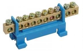Шина нулевая на изолятор стойка для DIN  6*9мм 10 отверстий