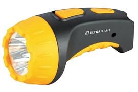 Фонарь Ultraflast LED 3804 аккумулятор 220 в чёрно/жёлый пластик короб 9215