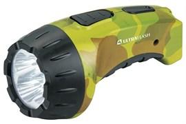 Фонарь Ultraflast LED 3804ML аккумулятор 4V вилка220V камуфляж/пластик