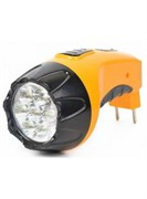 Фонарь Garin  жёлтый/пластик, 7 светодиодов Accu7 LUX (акк.4V 800mAh) 0,5W вилка 220V
