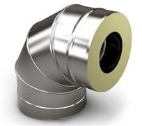 Сэндвич - колено Нержавеющая сталь + Нержавеющая сталь ( 0.8мм ) 90* 3 секции, диаметр 115*200