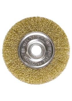 Щетка для УШМ, 150 мм, посадка 22,2 мм, плоская, латунированная витая проволока MATRIX - фото 10384