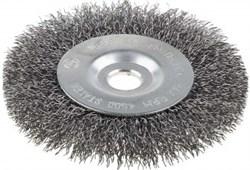Щетка ЗУБР ЭКСПЕРТ дисковая для точильно-шлифовального станка, витая  0,3 мм, 150 / 12.7 мм - фото 10400