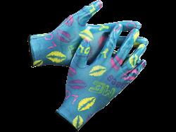 Перчатки GRINDA садовые прозрачное нитриловое покрытие синие - фото 11751
