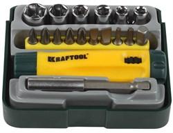 Набор бит KRAFTOOL отвертка ревер. с битами и адапт.,торцев.головками18 предметов - фото 15467