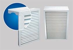 Экран навесной декоративный для радиатора, 620x580мм, 7 секций, каркас металл, решетка ПВХ, белый - фото 30504