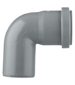Отвод канализационный 50мм 87 градусов, внутренний, с кольцом, серый - фото 32201