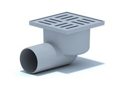 Трап угловой (горизонтальный) 100x100x50мм, с гидрозатвором, решетка нержавеющая сталь, серый - фото 33027