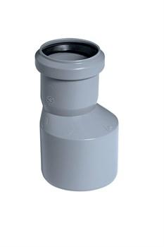 Патрубок переходный эксцентрический, диаметр 40x50мм, для внутренней канализации, полипропиленовый, серый - фото 33099