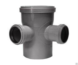 Крестовина канализационная одноплоскостная,  110/50/50, угол 87 градусов, полипропиленовая, серая - фото 33104