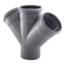 Крестовина канализационная одноплоскостная, 110/110/110, угол 45 градусов, полипропиленовая, серая - фото 33107