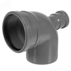 Отвод канализационный 110x50мм 90 градусов, фронтальный, внутренний, полипропиленовый, серый - фото 33116