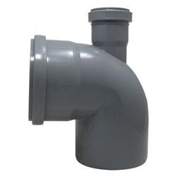 Отвод канализационный 110x50мм 90 градусов, прямой, внутренний, полипропиленовый, серый - фото 33117