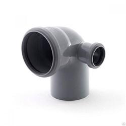 Отвод канализационный 110x50мм 90 градусов, правый, внутренний, полипропиленовый, серый - фото 33118