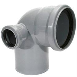 Отвод канализационный 110x50мм 90 градусов, левый, внутренний, полипропиленовый, серый - фото 33119
