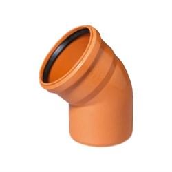 Отвод канализационный 110мм 45 градусов, наружный, полипропиленовый, оранжевый - фото 6804