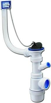 """Сифон """"Элит"""" с нержавеющей чашкой 70 мм, отводом для стиральной машины и переливом (1-40) - фото 7339"""