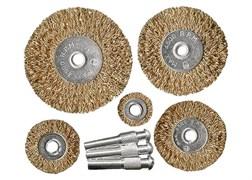 Набор щеток для дрели, 5 шт., 5 плоских 25-38-50-63-75 мм, со шпильками, металлические MATRIX