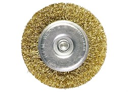 Щетка для дрели, 40 мм, плоская со шпилькой, латунированная витая проволока MATRIX