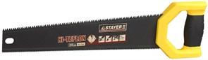 Ножовка STAYER HI-TEFLON двухсторонняя по дереву 2-компонентная ручка, 450мм, тефлоновое покрытие, 3D-заточка, шаг зуба 7 TPI(3/5мм)