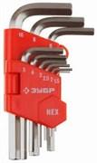 Ключи имбусовые ЗУБР ,короткие,1,5-10 мм