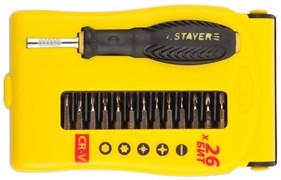 Набор STAYER 25614-H28: Отвертки MASTER, для точных работ, Cr-V, Cr сменные биты, обрезиненная рукоятка, 28 предметов