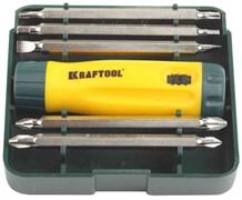 Реверсивно-рычажная отвертка BIT-LOCK с битами и торцевыми головками KRAFTOOL 26152-H15