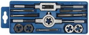 Набор ЗУБР МАСТЕР с металлорежущим инструментом, метчики однопроходные и плашки М6-М12, пластиковый бокс, 12 предметов, 28121-H12