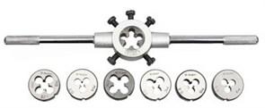 Набор ЗУБР МАСТЕР с металлорежущим инструментом, плашки М3-М12, плашкодержатель, 8 предметов, 28128-H8