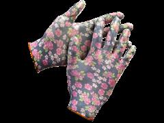 Перчатки GRINDA садовые прозрачное нитриловое покрытие чёрные