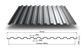 Профиль стальной листовой  оцинк. С-21 (1.2*2м) 0.4мм