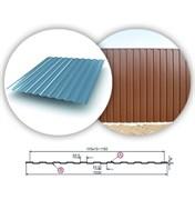 Профнастил/профиль листовой, стальной, С-8, 1.2x1.5м, толщина 0.35мм, оцинкованный
