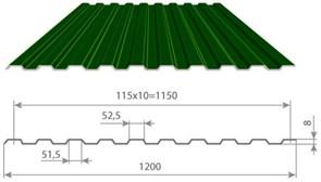 Профнастил/профиль листовой, стальной, С-8, 1.2x1.7м, толщина 0.35мм, окрашенный Зеленый RAL 6005