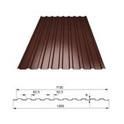 Профнастил/профиль листовой, стальной, С-8, 1.2x2м, толщина 0.4мм, окрашенный Коричневый RAL 8017