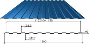 Профнастил/профиль листовой, стальной, С-8, 1.2x1.5м, толщина 0.4мм, окрашенный Синий