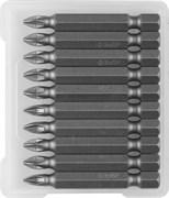 Биты ЗУБР Мастер кованые, хромомолибденовая сталь, РZ1, 50мм, Е1/4
