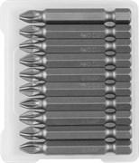 Биты ЗУБР Мастер кованые, хромомолибденовая сталь, РZ2, 50мм, Е1/4