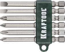 Набор KRAFTOOL биты хвостовик Е1/4, в пласт. 75мм, 6 предметов