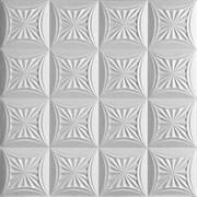 Плитка  потолочная инжекционная Люкс Формат, 50x50см, бесшовная, пенополистирол, Сириус, белая, упаковка 8шт. (2м2)