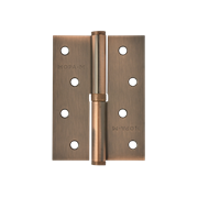 "НМ Петля сталь 750-4"" без колпачка (Медное покрытие) (Левая) размер: 100x75x2,5"