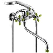 Смеситель для ванны, двухрычажный, цвет зелёный хром,  переключатель поворотный 90°.
