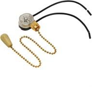 Выключатель для настенного светильника с цепочкой и деревянным наконечником золото