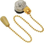 Выключатель для настенного светильника с деревянным наконечником с цепочкой 270мм gold