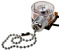 Выключатель для настенного светильника с проводом и деревянным наконечником Серебро