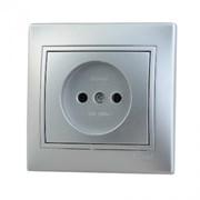 Розетка 1-м СП Мира Металлик серый без заземления керамика Lezard