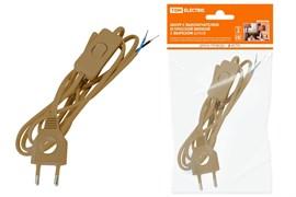 Шнур с выключателем и плоской вилкой с вырезом ШУ03В ШВВП 2*0.75  2м. Бронза TDM
